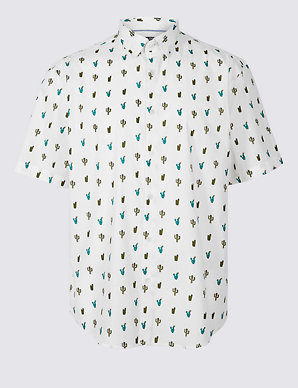ccb428ef Pure Cotton Slim Fit Cactus Print Shirt | Limited Edition | M&S