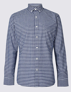 3b1a653f8 Pure Cotton Slim Fit Checked Oxford Shirt | M&S Collection | M&S