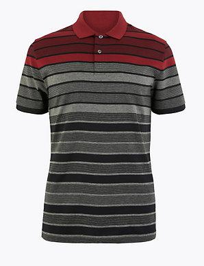 Waren des täglichen Bedarfs Bestbewertet echt feinste Auswahl Pure Cotton Striped Polo Shirt   Blue Harbour   M&S