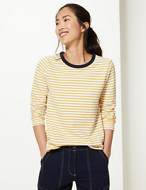 e4def26ff Pure Cotton Striped Regular Fit Sweatshirt | M&S Collection | M&S