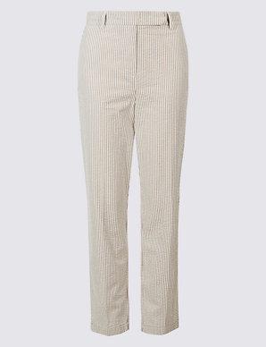 33d1de37d7 Pure Cotton Striped Seersucker Trousers