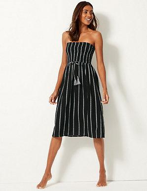 399494c913a Pure Cotton Striped Swing Beach Dress