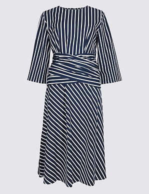 fc9bf4496c47 Pure Cotton Striped Tie Waist Tunic Dress | M&S Collection | M&S