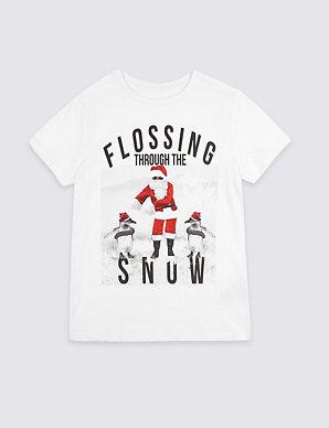 BOYS MENS FUNNY FLOSSING THROUGH THE SNOW SANTA CHRISTMAS T-SHIRT GREAT GIFT!!!