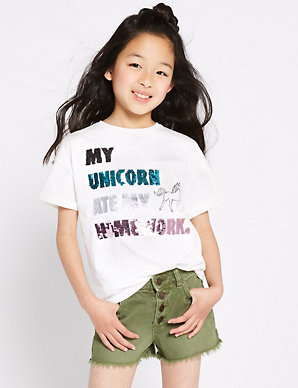 d748a734c Pure Cotton Unicorn T-Shirt (3-16 Years) | M&S