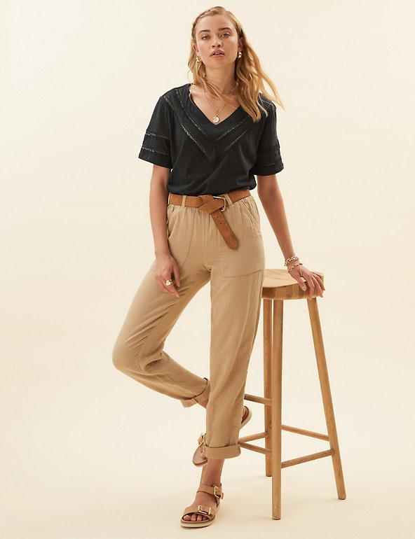Marks /& Spencer Per Una magenta imprimé coton top avec crochet trim manches