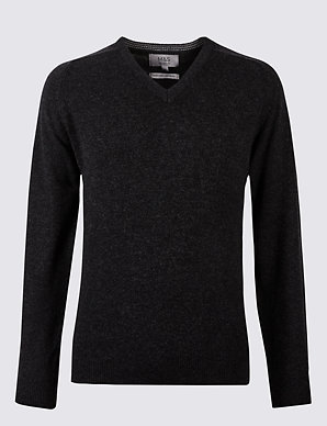 f72dd9a5fdc2 Pure Extra Fine Lambswool V-Neck Jumper | M&S Collection | M&S
