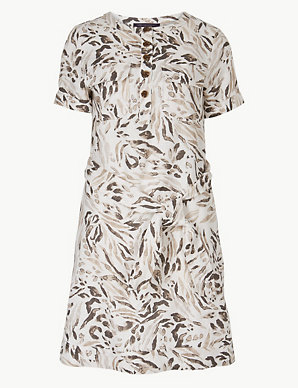 94ae89870488 Pure Linen Animal Print Shirt Mini Dress | M&S Collection | M&S