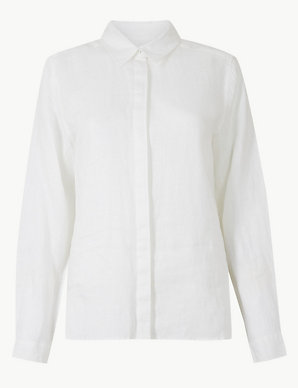 8dbbb3ae65 Pure Linen Button Detailed Shirt   M&S Collection   M&S