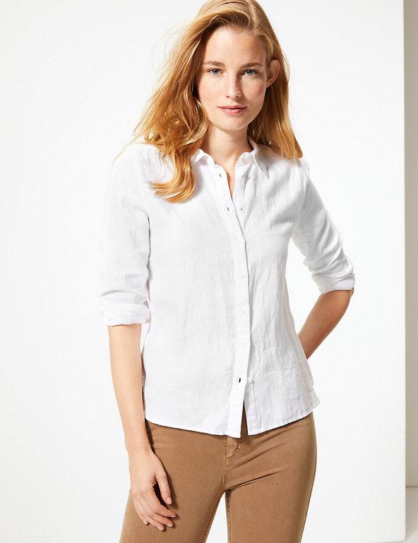 Pure Linen Button Detailed Shirt M&S plus size