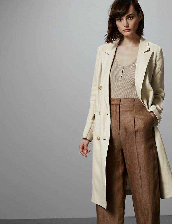 Pure Linen Double Breasted Longline Blazer Marks & Spencer