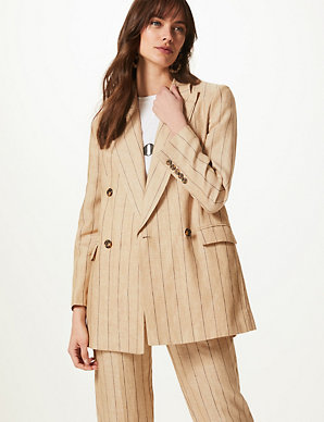 low cost 95321 49426 Pure Linen Oversized Striped Blazer