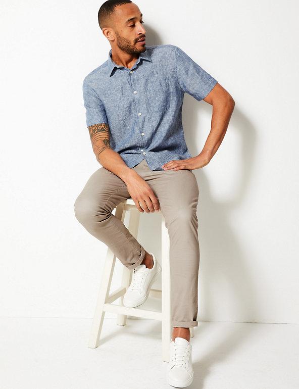 M/&S Linen Shirt Mens Single Pocket Short Sleeve Pure Linen Various Colours