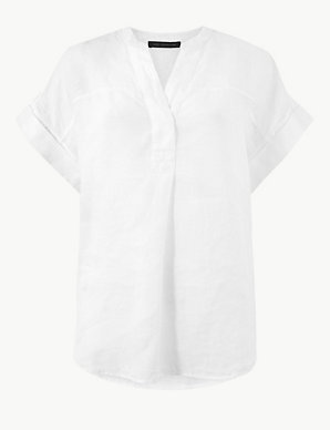 59dc1698e70fe7 Pure Linen Short Sleeve Blouse | M&S Collection | M&S