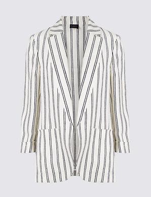 239d466d2f26 Pure Linen Striped Blazer | M&S Collection | M&S