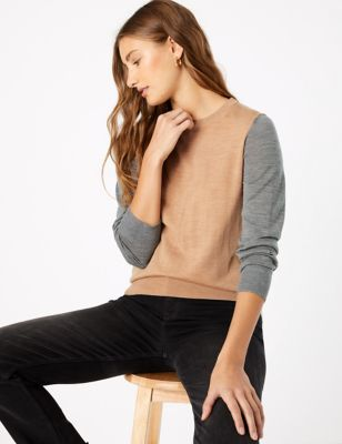Pure Merino Wool Colour Block Jumper