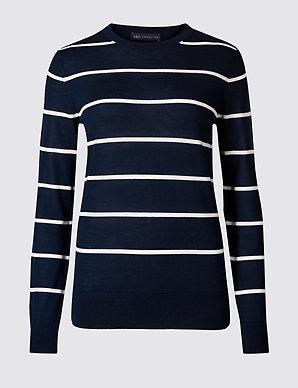 122390ee7 Pure Merino Wool Striped Round Neck Jumper