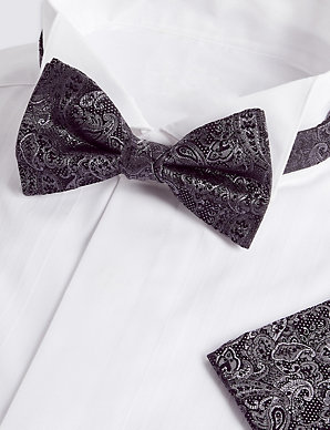 3183f9c1b250 Pure Silk Paisley Bow Tie & Pocket Square Set | M&S Collection | M&S