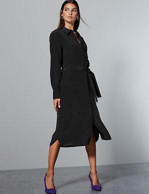 067bd28a60f Pure Silk Tie Waist Shirt Dress