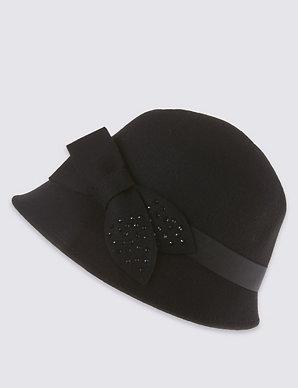 49cc8d35b Pure Wool Bow Cloche Hat