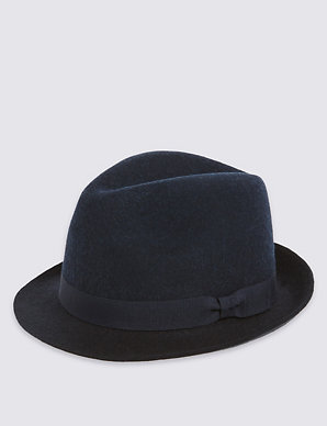 f39db7ea Pure Wool Felt Trilby Hat with Stormwear technology | M&S Collection | M&S