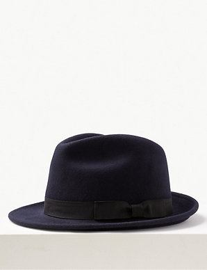 350d1ba7 Pure Wool Felt Trilby Hat with Stormwear™ | M&S Collection | M&S