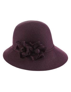 4a526aa70363d Pure Wool Floral Cloche Hat