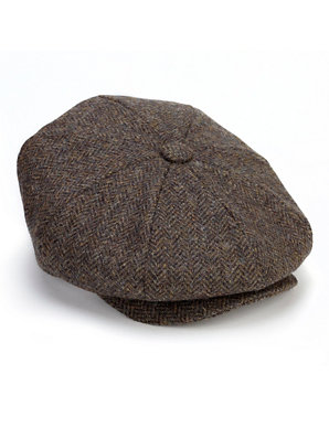 50de470deda5f Pure Wool Herringbone Baker Boy Hat | Blue Harbour | M&S
