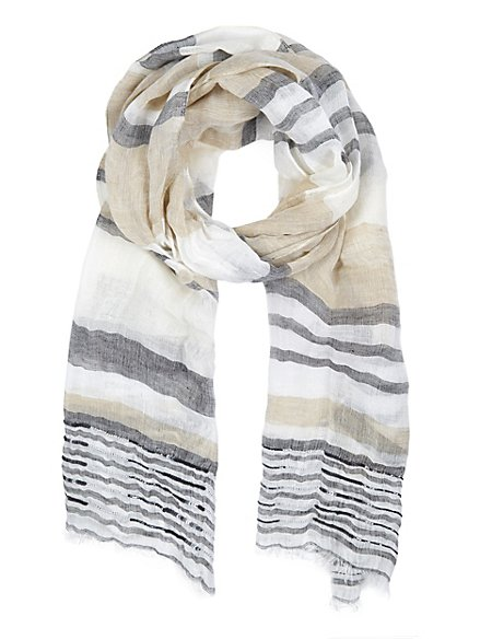 Linen Blend Lightweight Beaded Striped Scarf with Modal