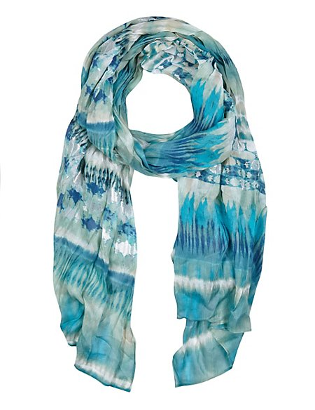 Modal Blend Lightweight Painted Striped Scarf