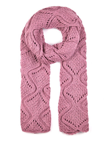 Cable Knit Pointelle Scarf