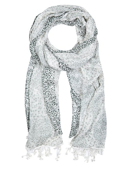 Lightweight Floral Scarf with Modal