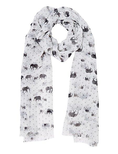 Lightweight Elephant Print Scarf