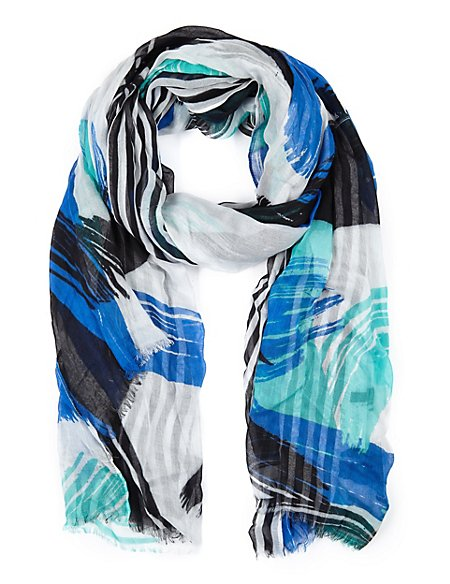 Modal Blend Lightweight Brushmark Striped Scarf