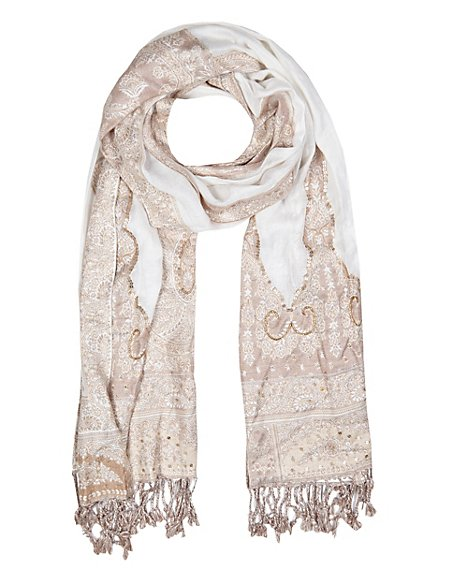 Lightweight Embroidered Paisley Jacquard Scarf