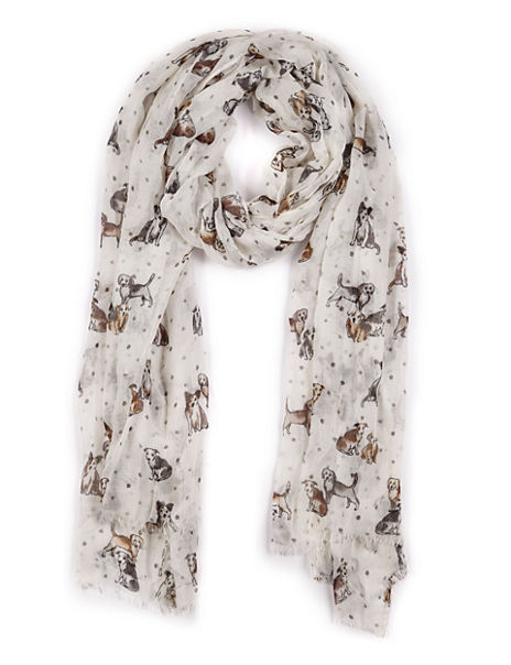Modal Blend Dog Print Spotted Scarf