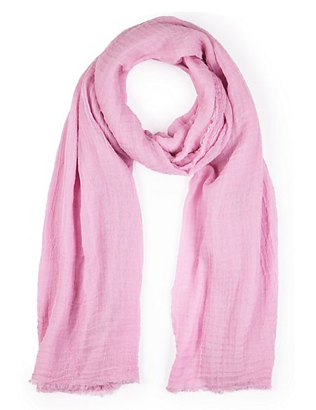 Crinkle Effect Scarf with Wool
