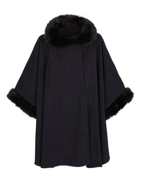 Faux Fur Collar Fleece Wrap