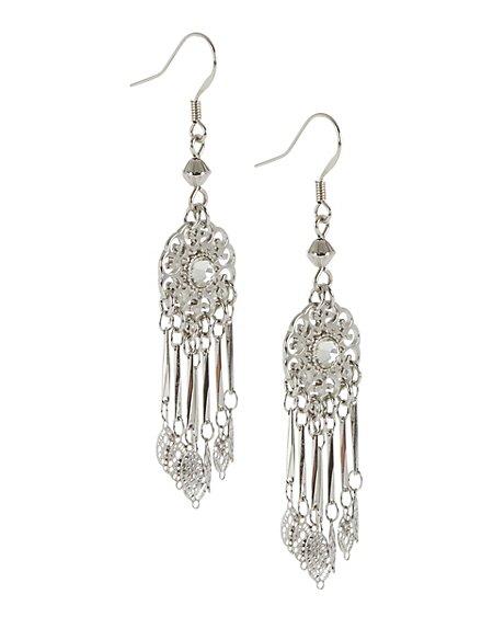 Diamanté Filigree Drop Earrings