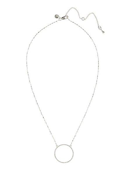 Sterling Silver Slim Circle Diamanté Necklace