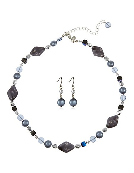 Assorted Bead Necklace & Earrings Set