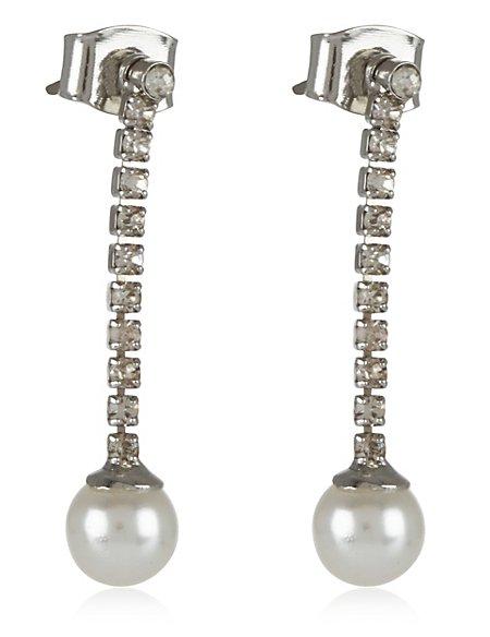 Pearl Effect Diamanté Stick Drop Earrings