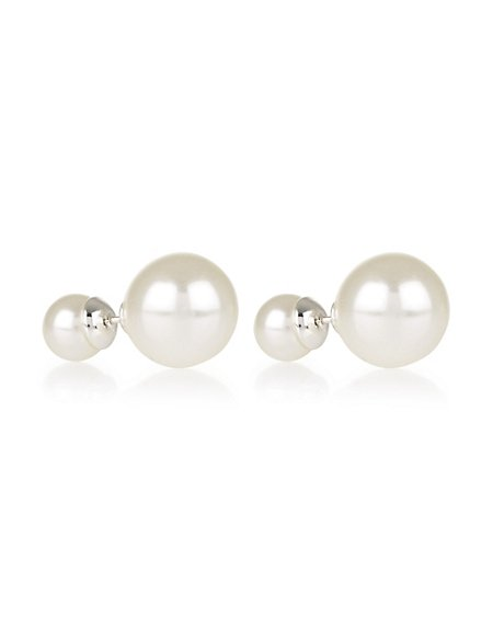 Pearl Effect Front Back Stud Earrings