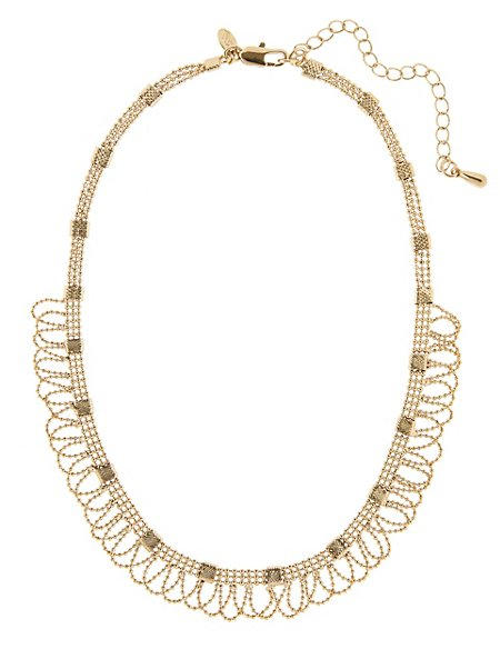 Gold Plated Lace Ball Chain Collar Necklace