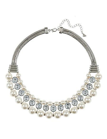 Pearl Effect & Diamanté Statement Necklace
