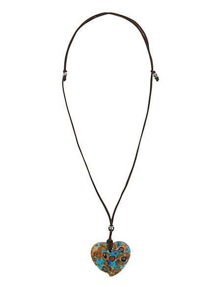 Heart Pendant Corded Necklace