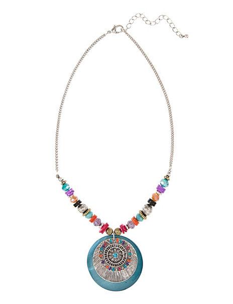 Enamel Floral Pendant Necklace