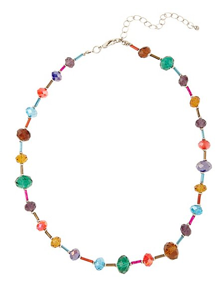 Assorted Bead & Mini Glass Collar Necklace