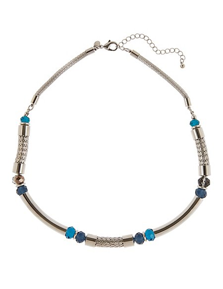 Tubular Metal Bead Necklace