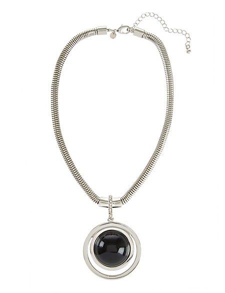 Diamanté Circle Dome Necklace